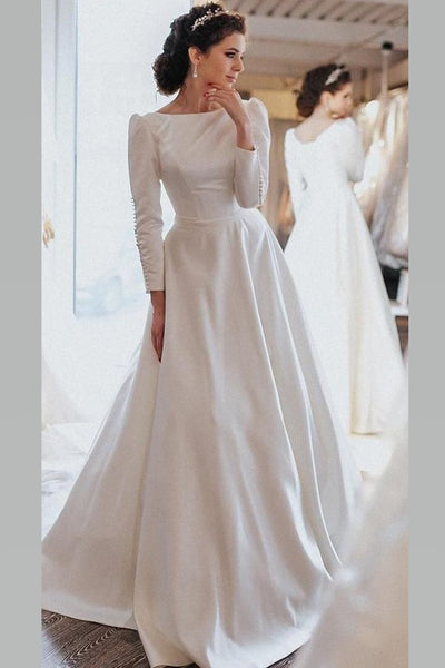vintage-long-sleeves-wedding-gown-satin-train-brautkleider