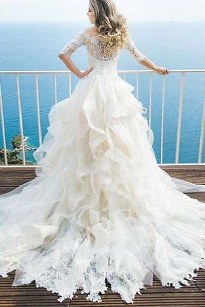 whimsical-bridal-gown-dress-with-lace-off-the-shoulder-bodice