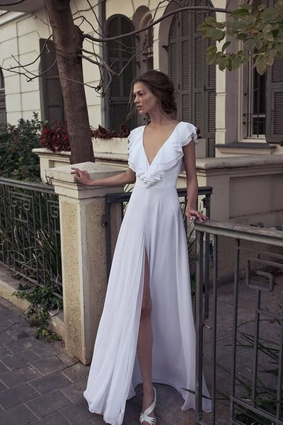 white-chiffon-beach-bridal-dress-with-flounced-sleeves