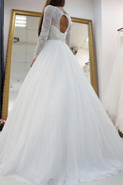 white-lace-long-sleeves-wedding-dress-tulle-skirt-1