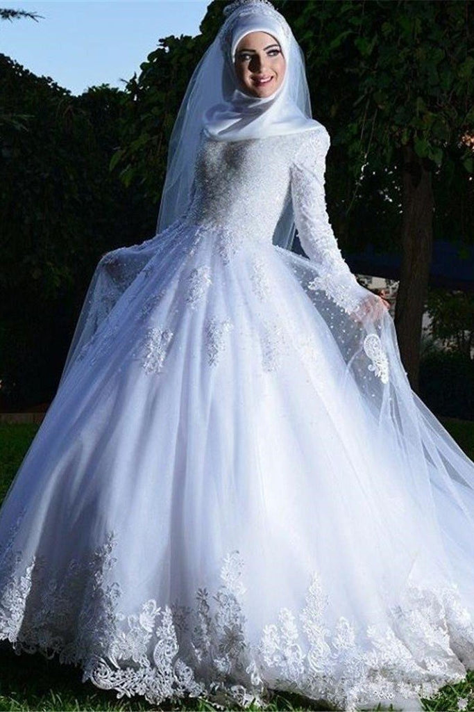 White Lace Muslim Wedding Dresses With Long Sleeves Narsbridal