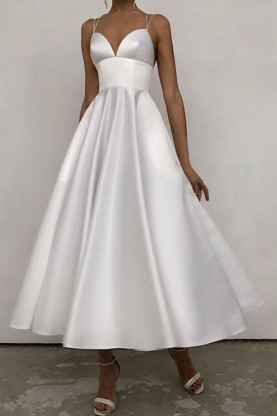 white-satin-midi-dresses-for-brides-vestido-de-novia-corto
