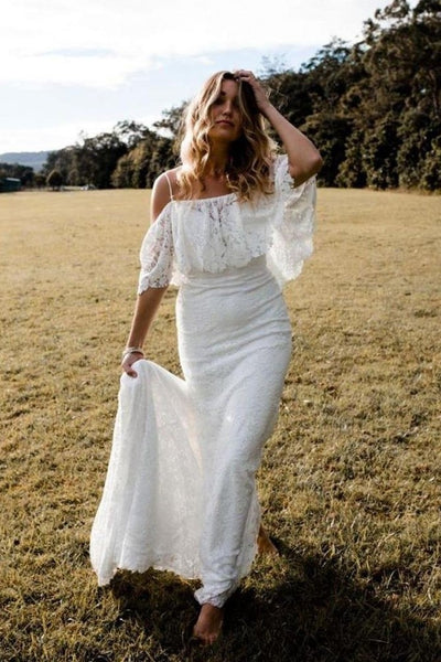 women-boho-wedding-dress-lace-off-the-shoulder