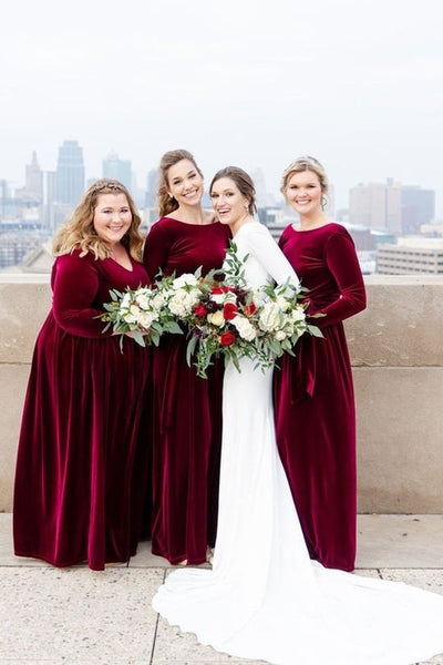womens-velvet-wedding-party-dress-for-bridesmaid