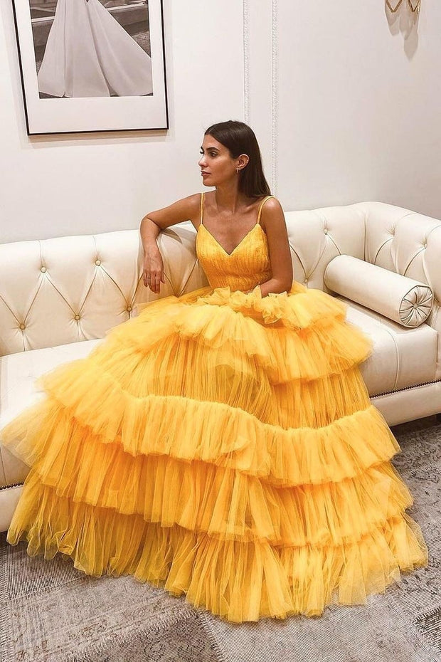 yellow-floor-length-prom-gown-with-tiered-skirt