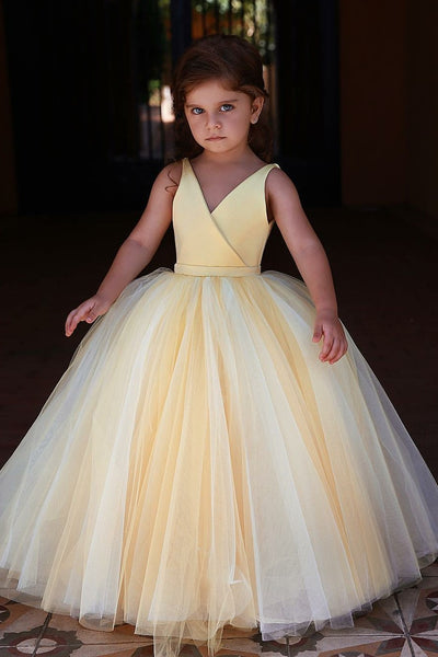 yellow-v-neckline-tulle-flower-girl-dress-kids-communion-dresses