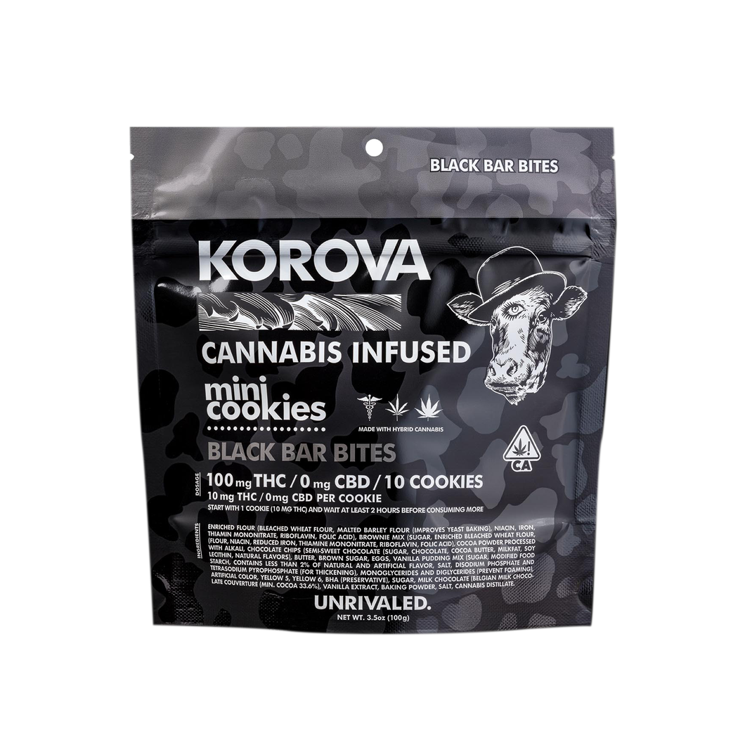 KOROVA - BLACK BAR BITES - MINI COOKIES 100MG THC-EDIBLE-Emberz Cannabis Delivery