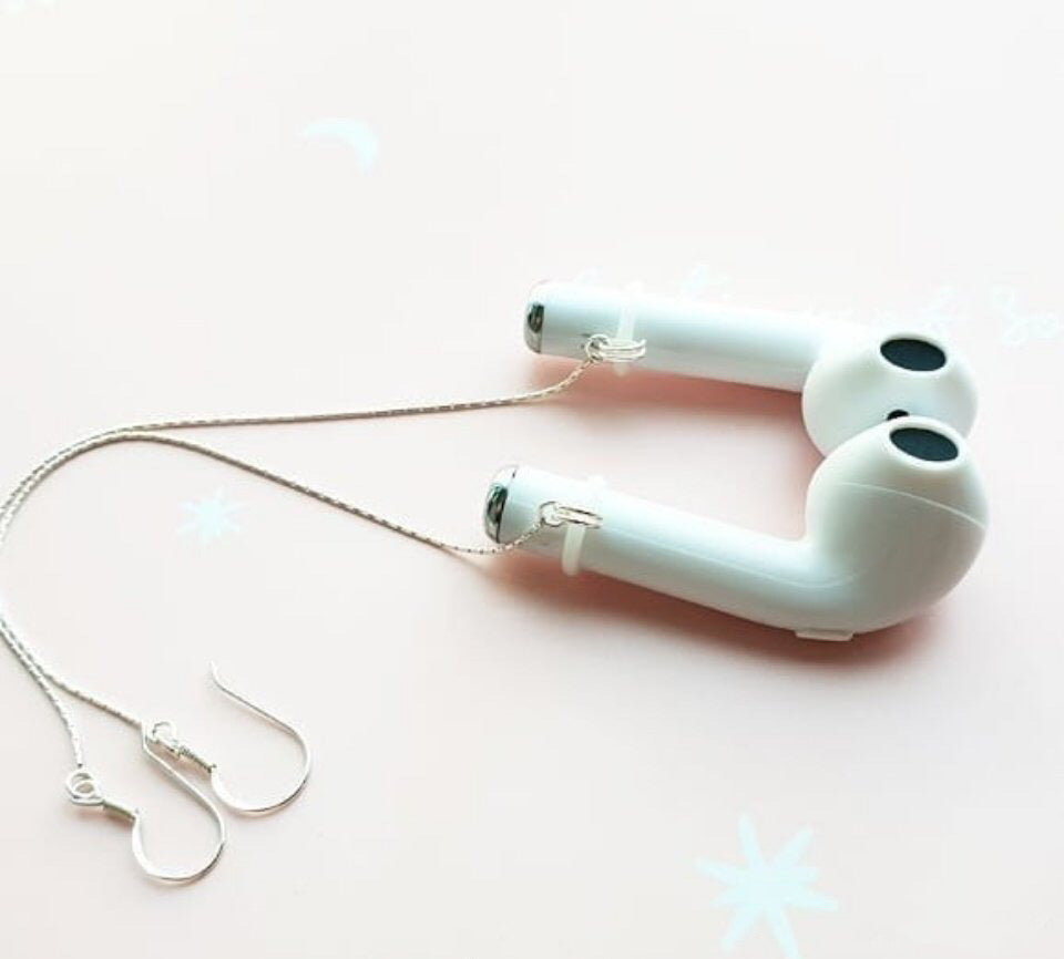 Airpods sterling silver anti-lost earrings