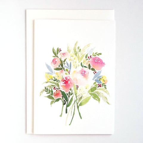 Bouquet of Roses in Peach & Fern Card