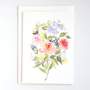 Bouquet of Roses & Lavender Card