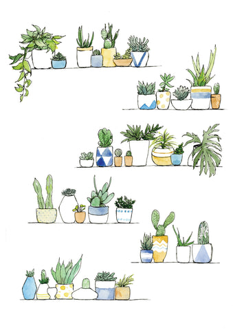 Watercolour art print of small house plants of cacti and succulents on a shelve by For My Dearest