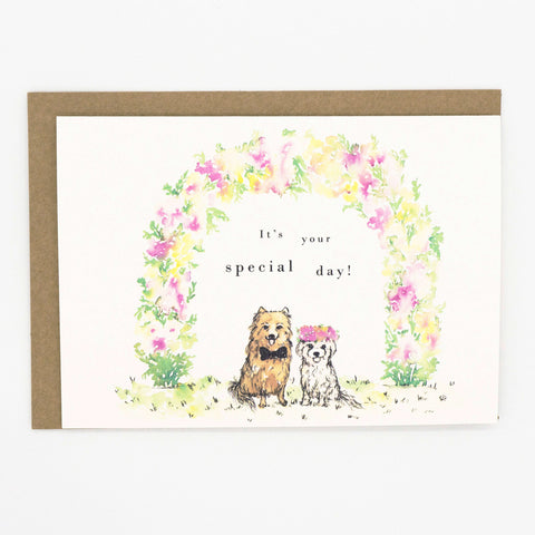 Wedding card with dogs and watercolour florals, by For My Dearest