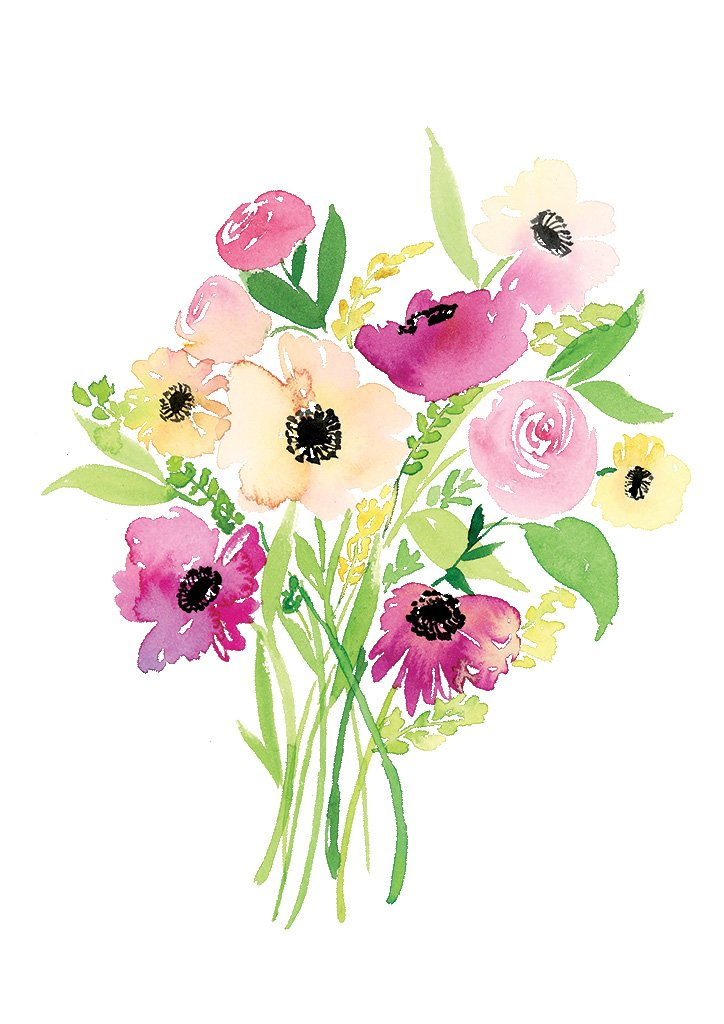 Watercolour art print of a bouquet of magenta and peach dark-centred daisies by For My Dearest