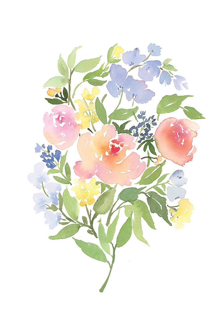 Watercolour art print of a bouquet of peach roses & lavender by For My Dearest