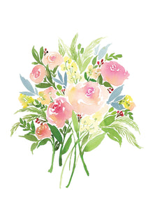 Watercolour art print of a bouquet of Roses in Peach & Fern by For My Dearest