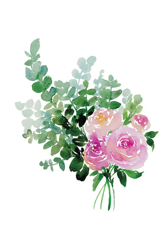 Watercolour art print of a bouquet of pink ranunculus with gum tree leaves by For My Dearest.