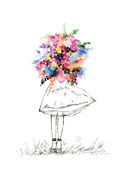 Watercolour art print of a girl with a colourful bouquet, painted by For My Dearest.