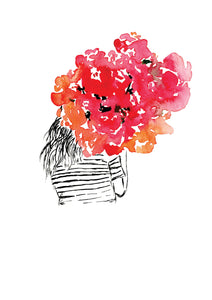 Watercolour art print of a girl with a red bouquet, painted by For My Dearest