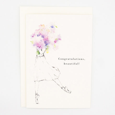 Girls and Flowers Card: Congratulations