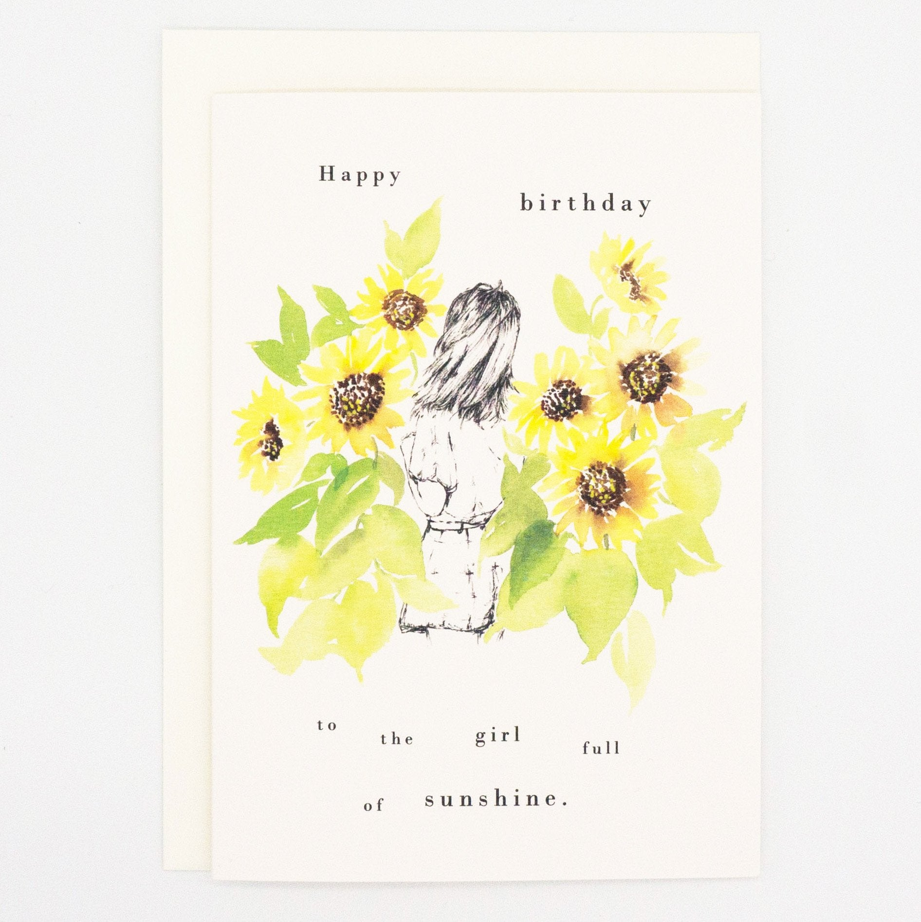 Girls and Flowers Card: Happy Birthday