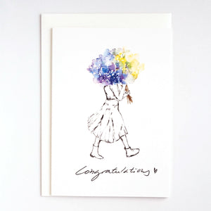 Girls & Flowers Card: Congratulations