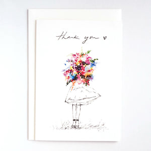 Girls & Flowers Card: Thank You