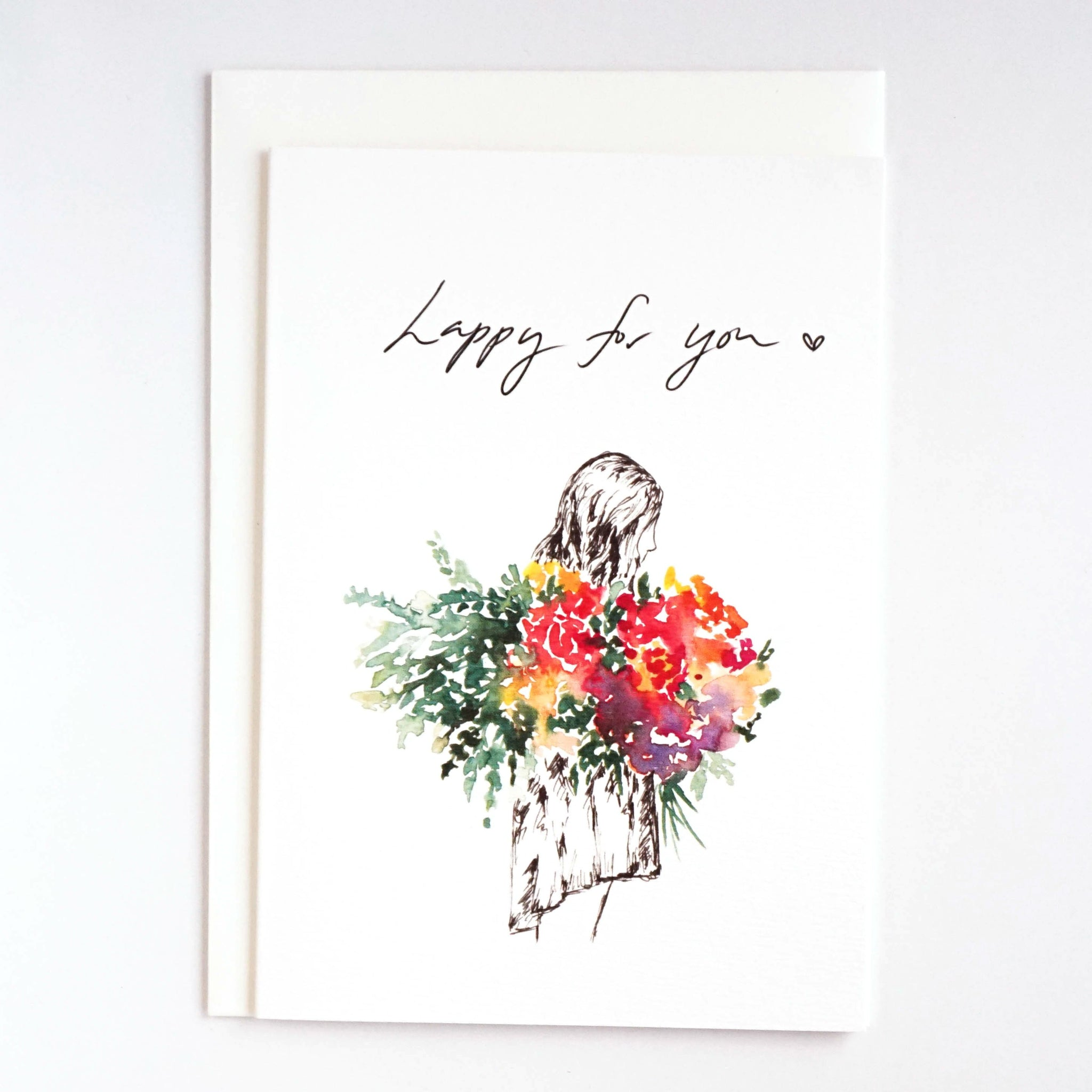 Girls & Flowers Card: Happy for You