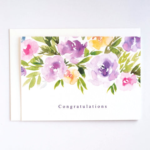 Congratulations greeting card with purple watercolour florals by For My Dearest