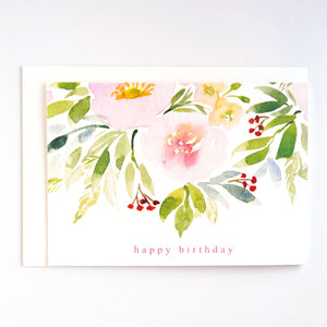 Happy birthday card with watercolour peach and green florals, by For My Dearest