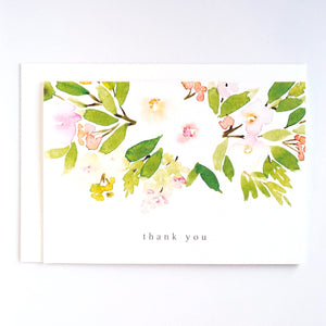 Thank you card with green and peach watercolour florals, by For My Dearest