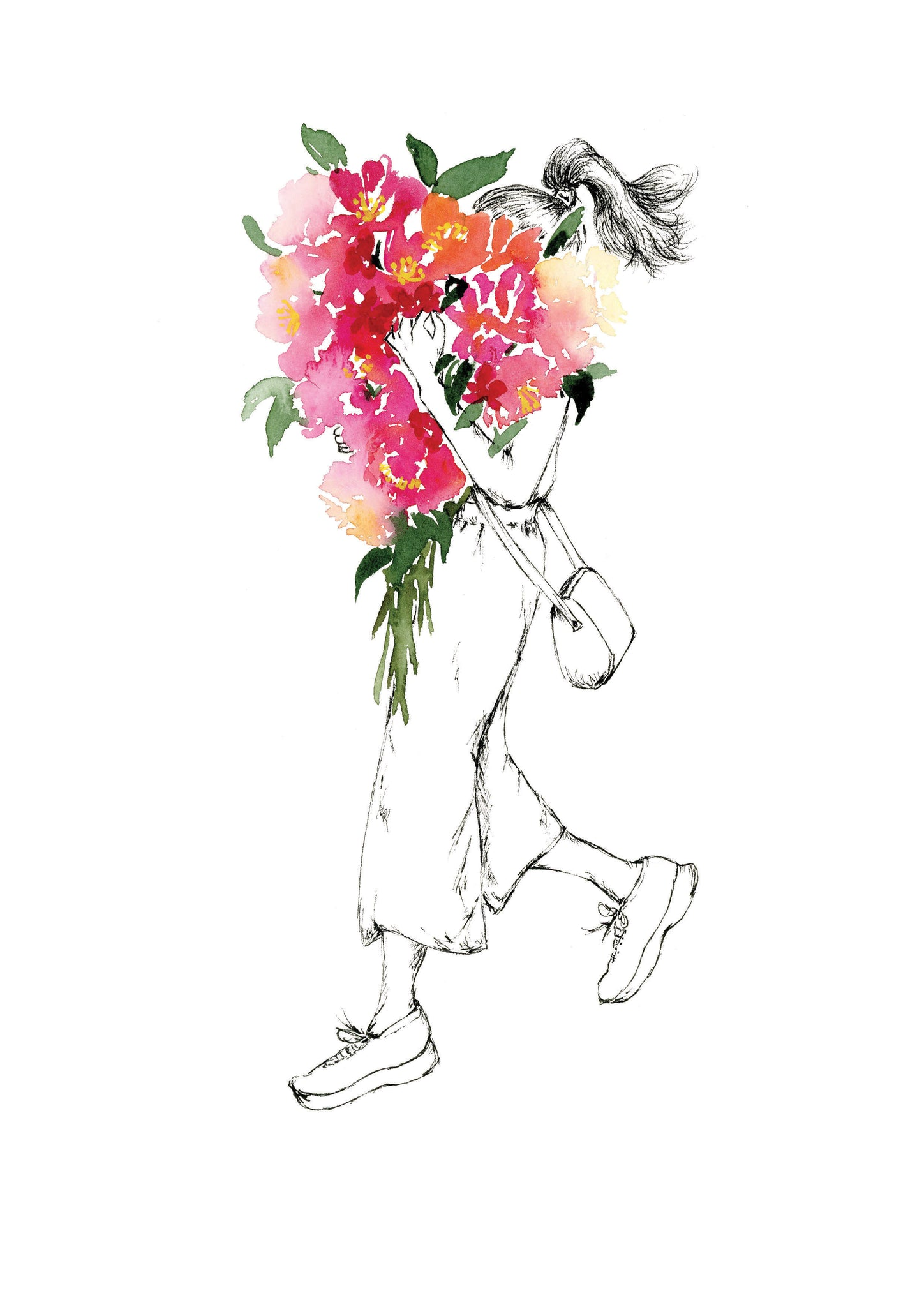 Watercolour art print of a woman holding a red floral bouquet, by For My Dearest