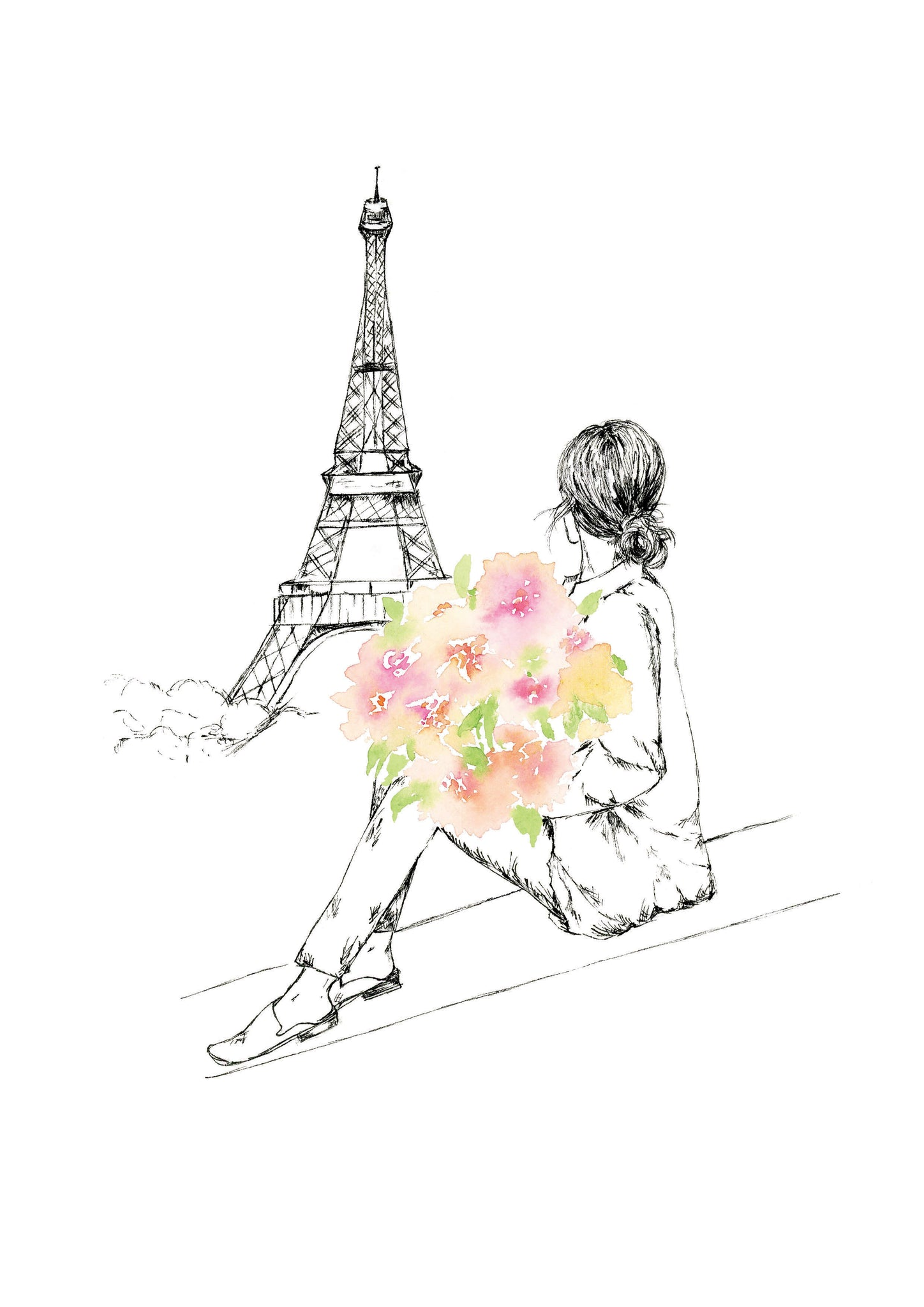Watercolour art print of a woman with a floral bouquet looking at the Eiffel Tower, by For My Dearest.