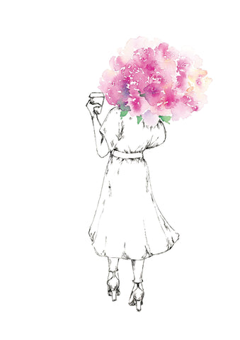 Watercolour art print of a woman with coffee in one hand an pink bouquets in the other. Painted by For My Dearest.