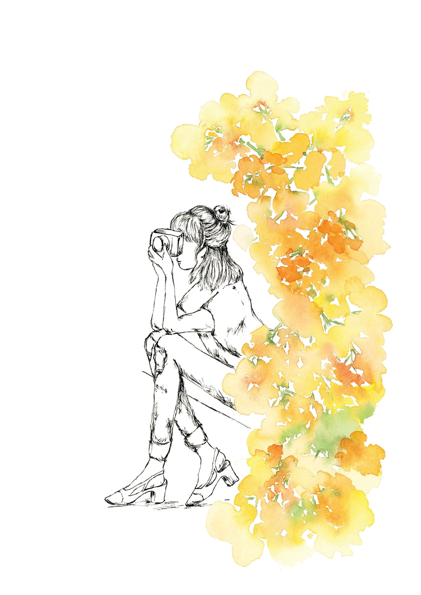 Watercolour art print of a woman photographer surrounded by flowers. By For My dearest.