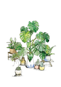 Watercolour Art print of Monstera plant with assorted little house plants, by For My Dearest.