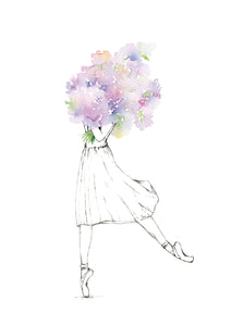 Watercolour art print of a ballet dancer holding a bouquet of purple flowers, by For My Dearest.