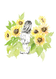 Watercolour art print of a woman amongst sunflowers, by For My Dearest.