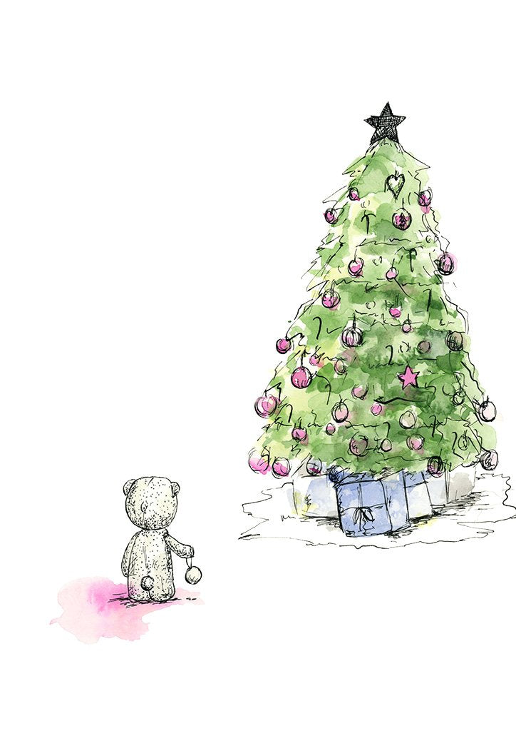 Watercolour drawing of a teddy bear and christmas tree, by For My Dearest