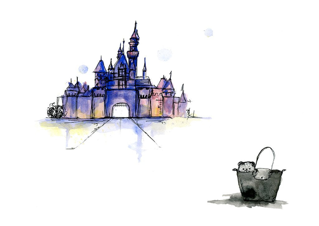 watercolour art print of teddy going to disneyland, by For My Dearest