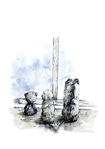 Watercolour drawing of a teddy bear and two dogs on a rainy day, by For My Dearest
