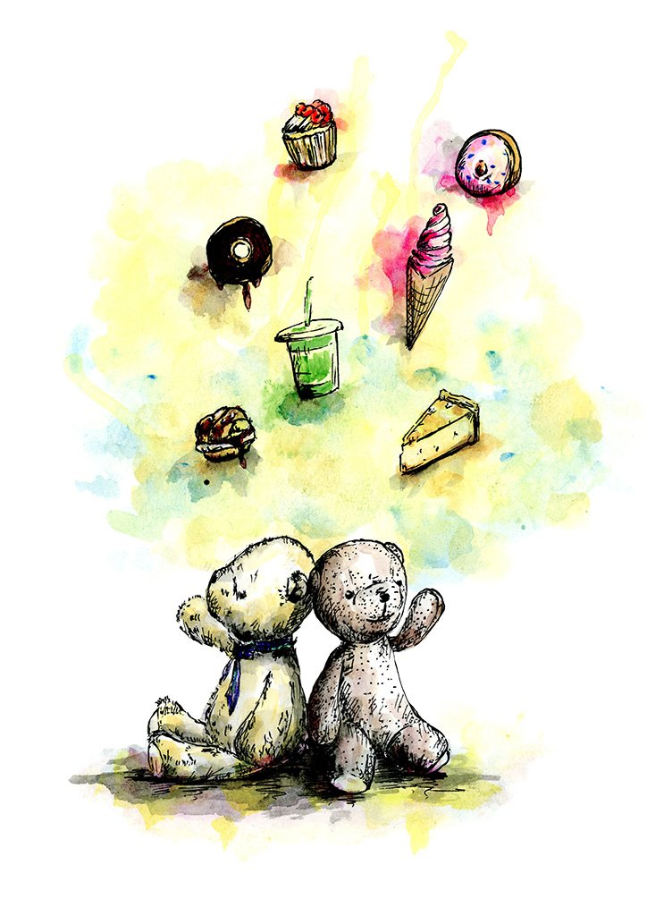 Watercolour painting of Teddy bears surrounded by lots of desserts, by For My Dearest.