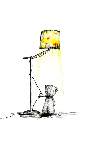Watercolour art print of teddy bear turning on the light, by For My Dearest.