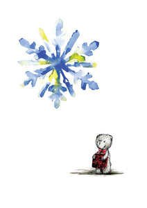 Watercolour art print of a teddy bear and snowflake, by For My Dearest