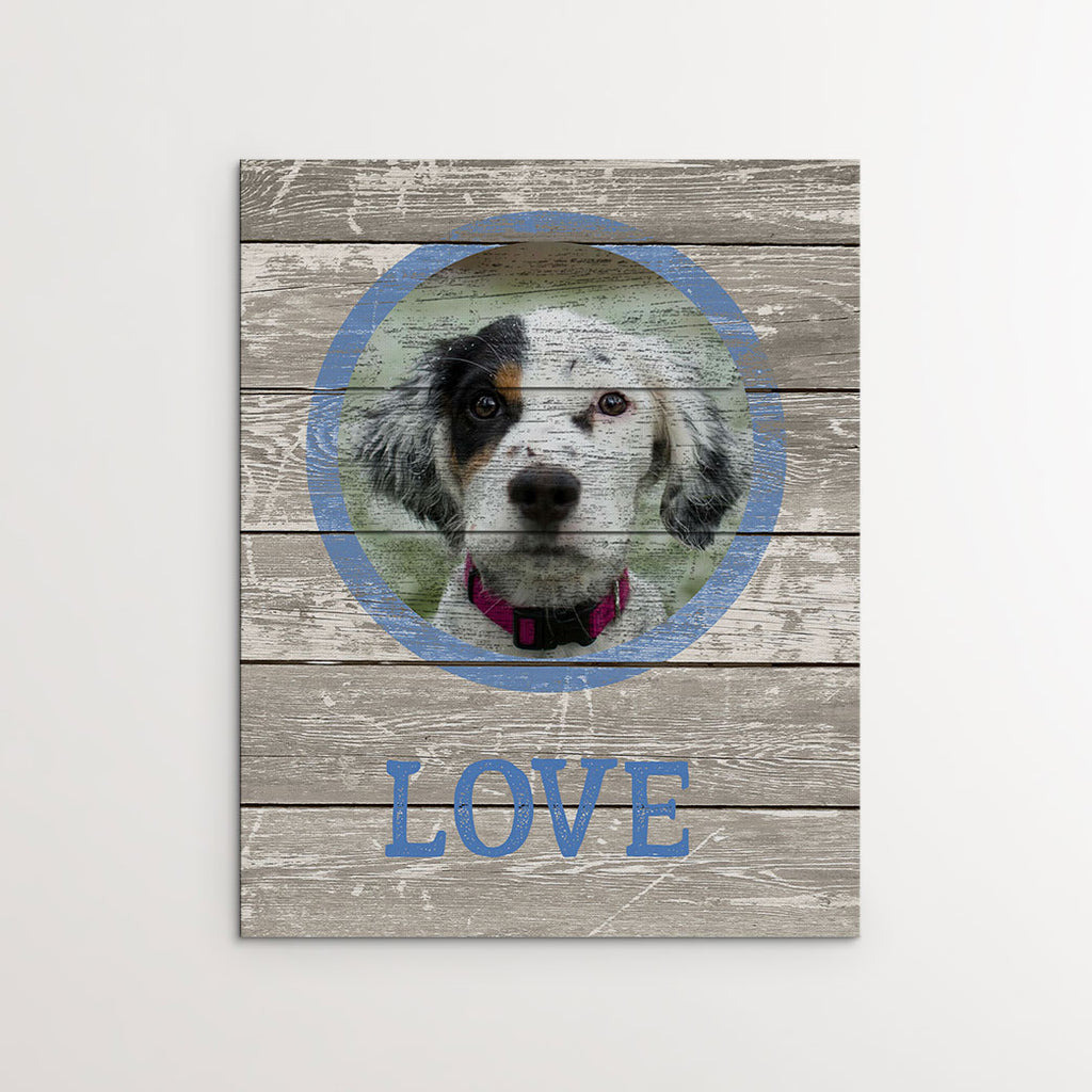 'LOVE' - Wood-inspired, Grey - Personalized Photo Canvas- FureverTrue