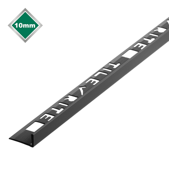 10mm x 2.44m Black L Shape Pvc Tile Trim - FTE701
