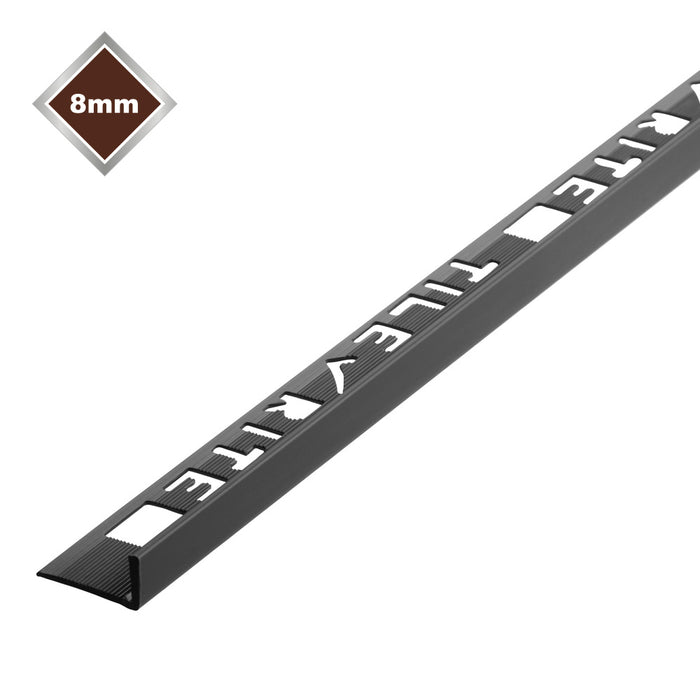 8mm x 2.44m Black L Shaped Pvc Tile Trim - FTE475
