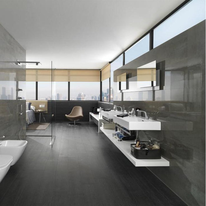 £51.99 /sqm - Porcelanosa Shine Aluminio - 33.3x59.2cm - Gloss Wall Tiles