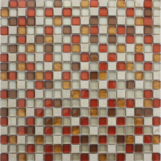 Pacific Mosaic Tiles - Copper Bronze - 29.5cm x 29.5cm