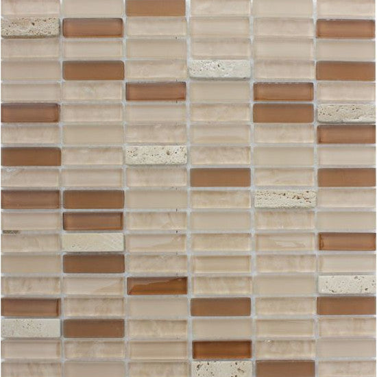 Pacific Mosaic Tiles - Crystal Beige (rectangles) - 29.5cm x 29.5cm