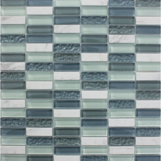 Pacific Mosaic Tiles - Ice Cube (rectangles) - 29.5cm x 29.5cm
